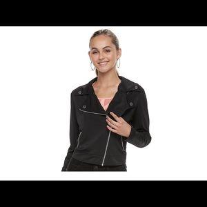 Juniors' Candie's black Knit Moto Jacket